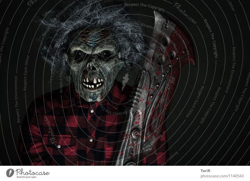 whatz up?! Mensch rot dunkel grau Kopf warten bedrohlich Wut gruselig Filmindustrie Maske Hemd bizarr kariert böse Messer