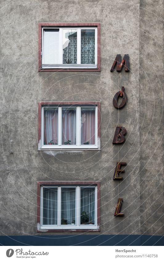 Möbel | Haus Wien Gebäude Architektur Mauer Wand Fassade Fenster Schriftzeichen alt grau Möbelgeschäft Leuchtreklame Gardine Mehrfamilienhaus Buchstaben kaputt