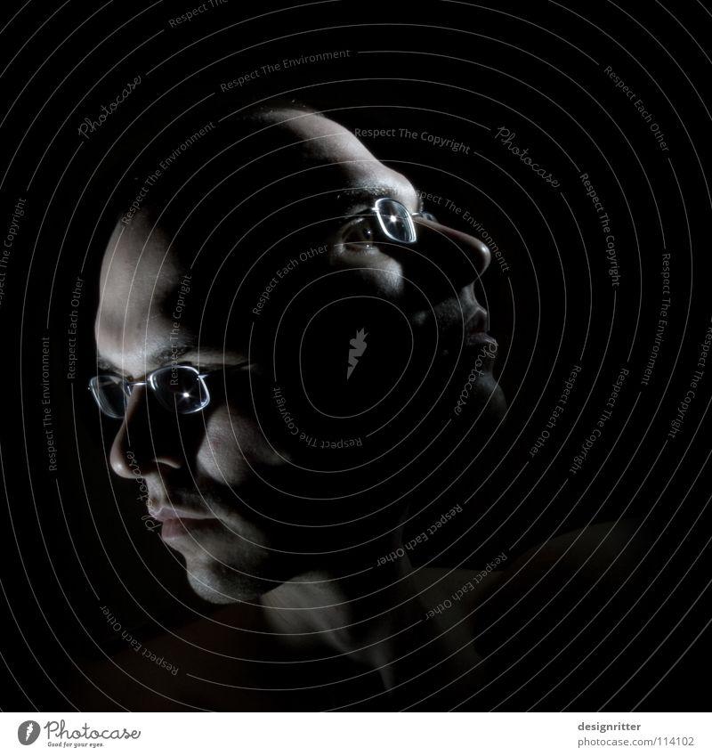 Ansichtssache Mann Gesicht dunkel Stil oben Kopf hell Wandel & Veränderung unten Meinung Selbstportrait links rechts Wechseln