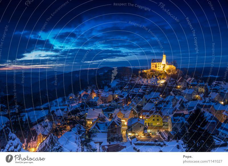 Gößweinstein bei Nacht Burg oder Schloss Bauwerk Dach Sehenswürdigkeit blau gelb Glaube Religion & Glaube Horizont Kultur Ferien & Urlaub & Reisen Ferne Himmel