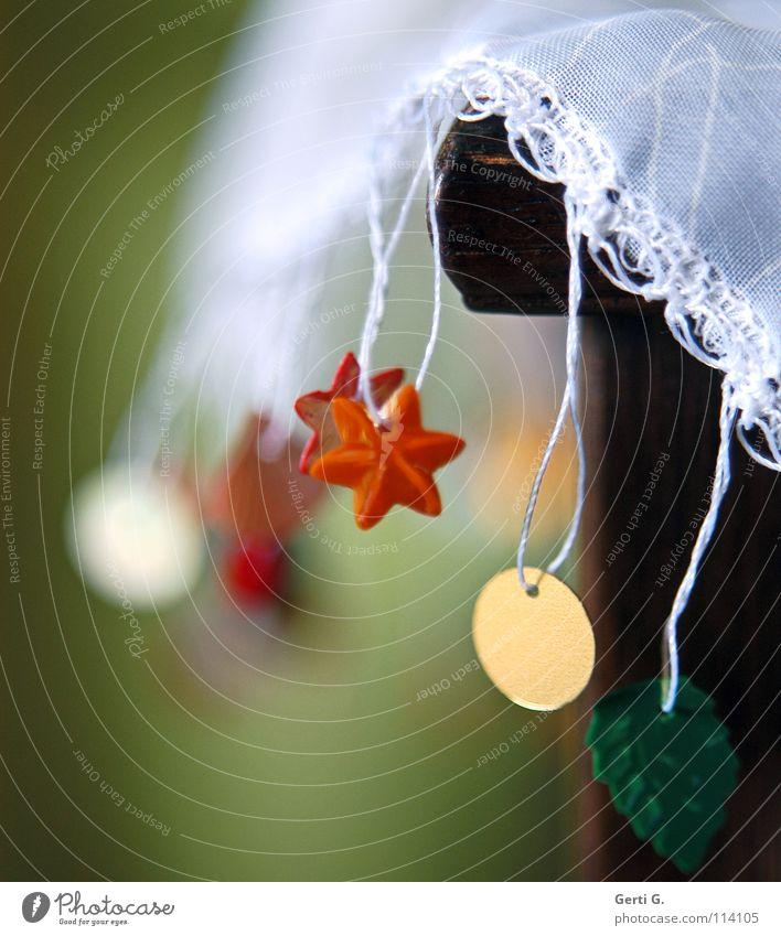 glitzifitzi Weihnachten & Advent grün weiß rot gelb Spielen Feste & Feiern Kunst Stern (Symbol) Ecke Schnur Stoff zart Handwerk hängen Tradition