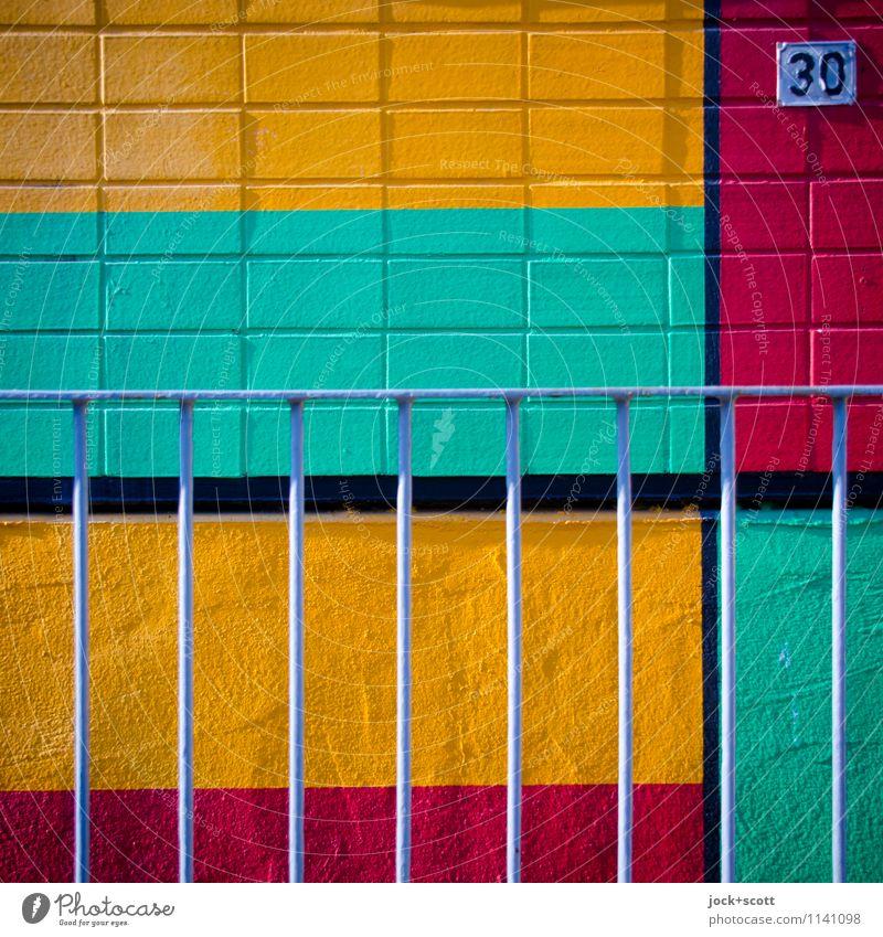 bunte 30 Freude Grafik u. Illustration DDR Fassade Geländer Dekoration & Verzierung Linie Streifen Netzwerk Rechteck Strukturen & Formen ästhetisch eckig