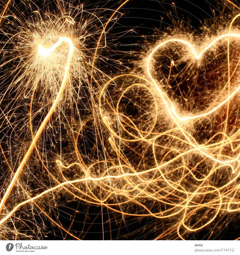liebestanz Freude Liebe Glück Feste & Feiern Tanzen Herz Geburtstag glänzend Jubiläum Kitsch Silvester u. Neujahr zeichnen Feuerwerk Verliebtheit
