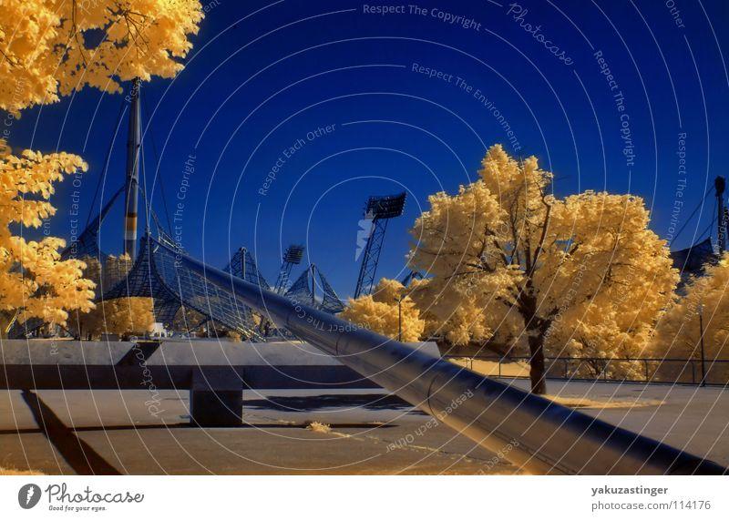 Moonlight Mile 2 Infrarotaufnahme Farbinfrarot Baum Horizont gelb Flutlicht Langzeitbelichtung Olympiastadion Himmel blau silber Channelshifting Architektur
