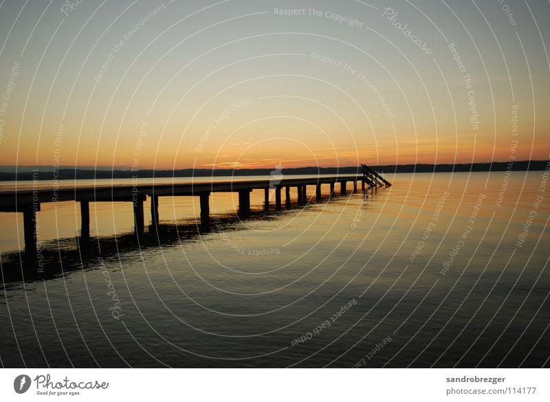 Starnberger See like paradise 2 Wasser ruhig Horizont Unendlichkeit Abenddämmerung