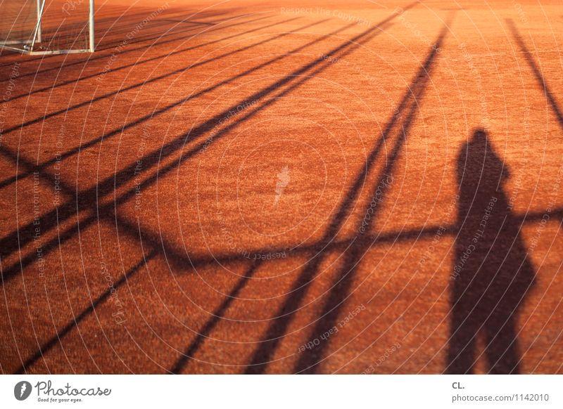 torlinientechnik Freizeit & Hobby Spielen Sport Fußball Tor Sportstätten Fußballplatz Mensch maskulin Mann Erwachsene 1 Schönes Wetter Linie komplex Perspektive