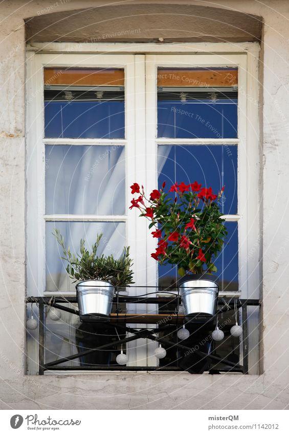 French Windows II Kunst ästhetisch Fensterladen Fensterscheibe Fensterbrett Fensterblick Fensterkreuz Fensterrahmen Fensterfront Fenstersims Blumentopf Farbfoto