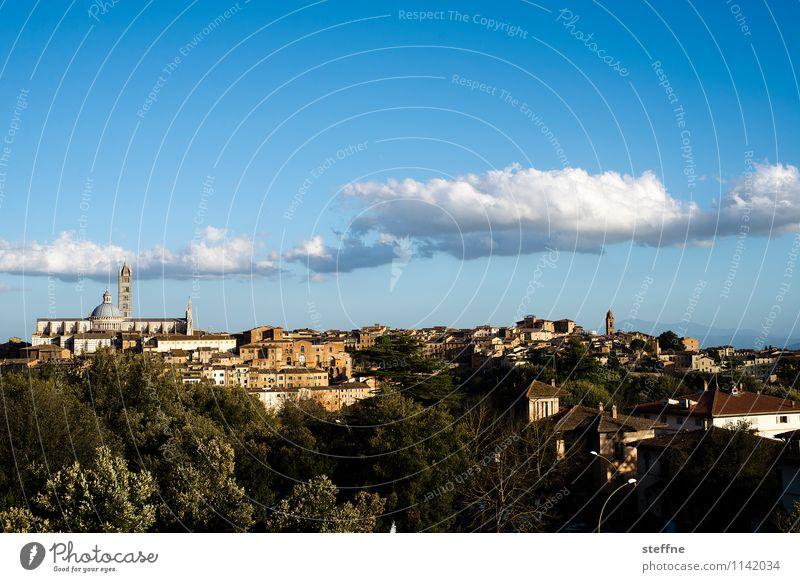 Around the World: Siena Schönes Wetter Tourismus Toskana Italien Dom Hügel Wolken Frühling Abenddämmerung Textfreiraum oben