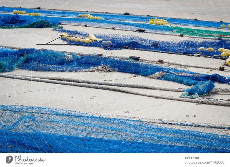 Fischernetze Hafen Netz blau anstrengen ästhetisch Zufriedenheit Netzwerk Fischereiwirtschaft Spanien Vernetzung fischen verstrickt verfangen Farbfoto