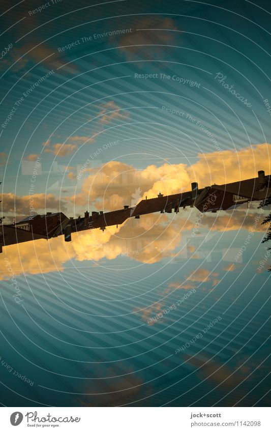 schräger Abend Stil Wolken Schönes Wetter Saarland Linie Netzwerk fantastisch groß lang modern Wärme blau Verschwiegenheit Wachsamkeit beweglich Zufriedenheit
