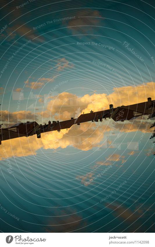 schräger Abend Wolken Schönes Wetter Linie fantastisch lang modern Wärme blau Horizont Inspiration komplex Surrealismus Irritation Doppelbelichtung