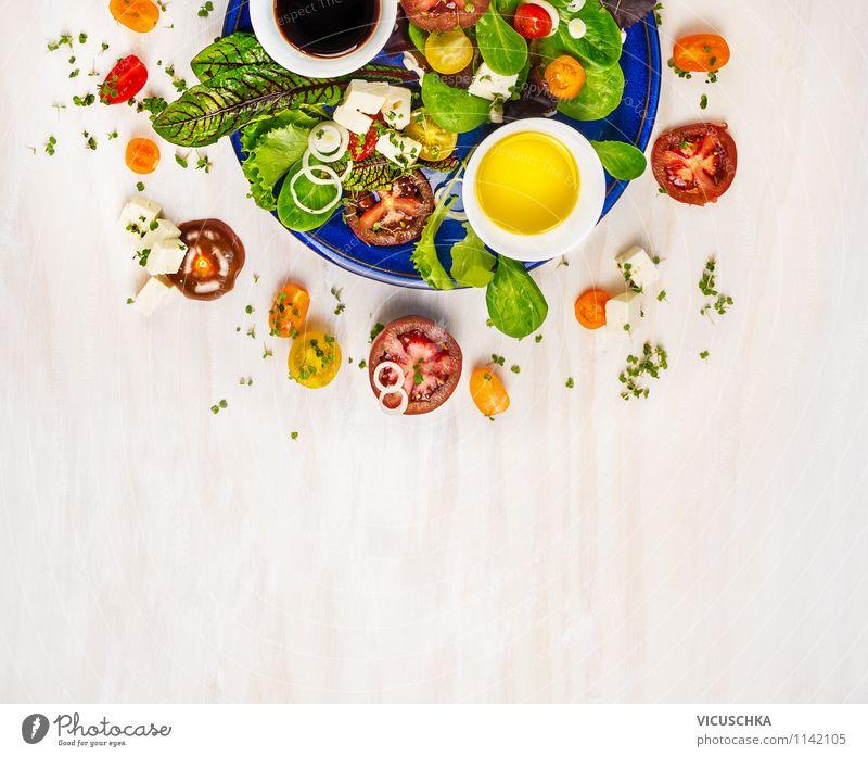 Bunte Sommersalat Gesunde Ernährung Leben Stil Lebensmittel Design Tisch Kräuter & Gewürze Gemüse Bioprodukte Schalen & Schüsseln Teller Diät