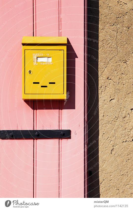 Retropost. Kunst ästhetisch Design Fassade Briefkasten Postkarte gelb Kasten Tür rosa verrückt retro Kontrast Geometrie Symmetrie Farbfoto mehrfarbig