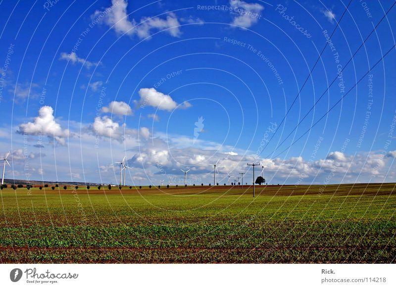 .Clean Power 2 grün Kraft Windkraftanlage weiß Technik & Technologie Natur Wolken Himmel Elektrizität Herbst Energiewirtschaft blau Kabel Strommast Farbe