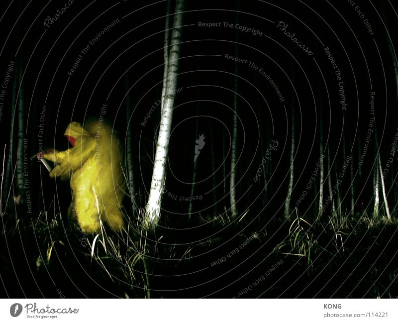 yellow rush Natur Freude gelb Wald dunkel grau Angst verrückt gefährlich bedrohlich Maske gruselig Anzug Panik König