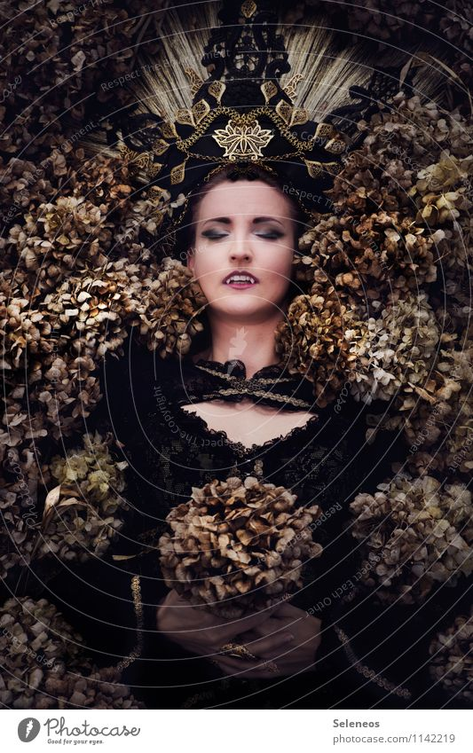 1300 l immortal Mensch Frau Pflanze schön Blume Erwachsene Gesicht Blüte Herbst feminin Tod Haut schlafen Ewigkeit Karneval gruselig
