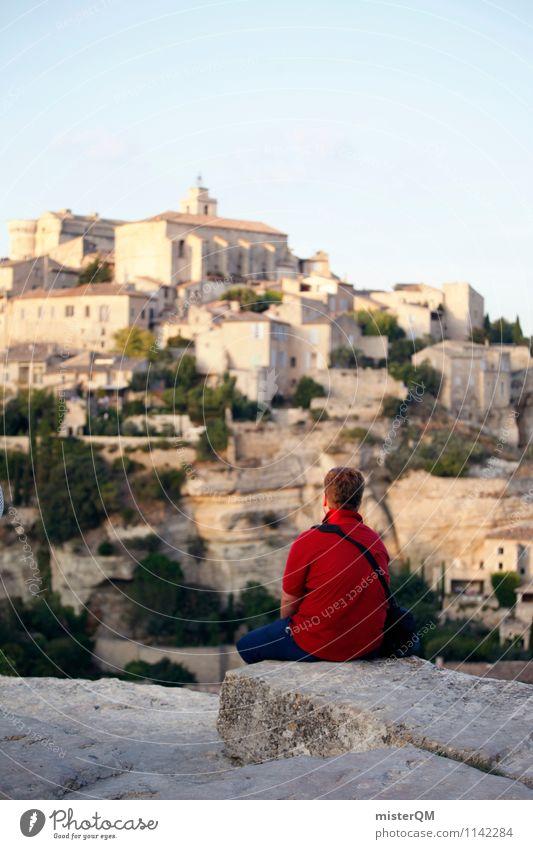Red Dot. Kunst ästhetisch Farbfleck Frankreich Provence Gordes Mann wandern Tourist Abenteurer Pionier Aussicht Sehenswürdigkeit Fernweh Pause sitzen rot