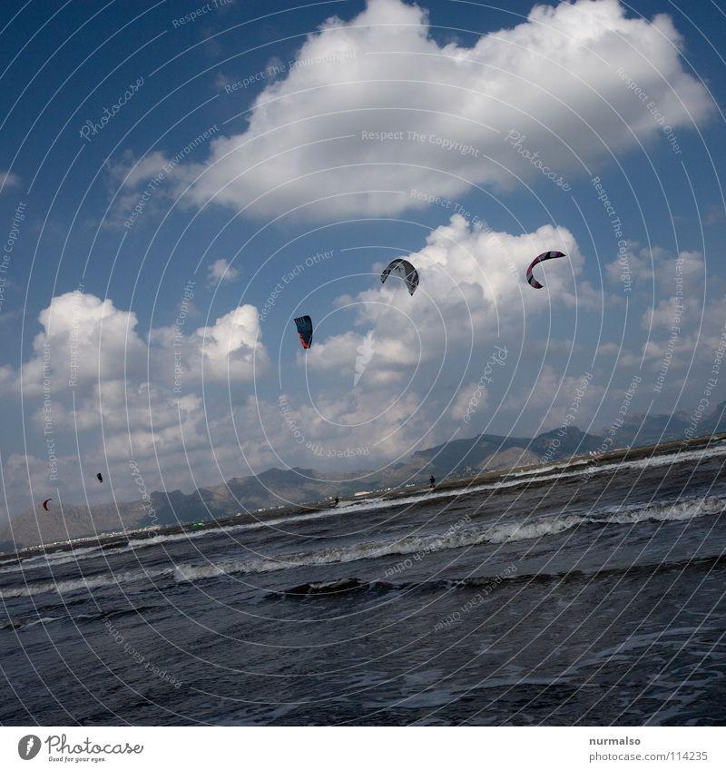 Frühsport Himmel blau Sommer Meer Freude Strand Wolken Sport Spielen Berge u. Gebirge Wärme Sand Wind Wellen fliegen gefährlich