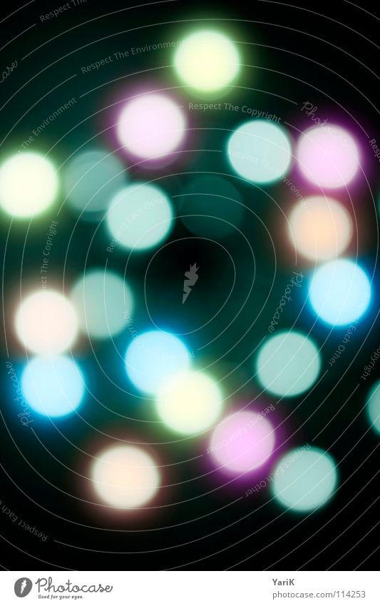saturday night fever Licht rund Kreis glühen mehrfarbig erleuchten grün gelb rosa türkis schwarz Unschärfe Lichtspiel Farbenspiel Stil Design Experiment