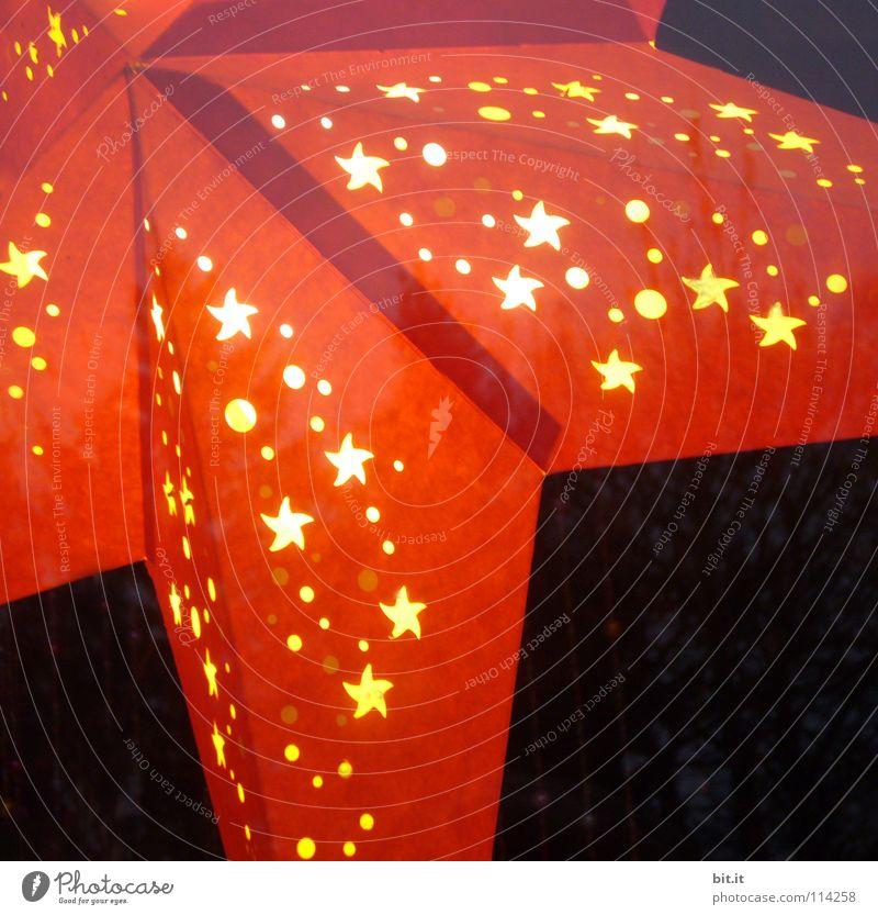 ROTSTERNCHEN + GELBPUNKTCHEN Weihnachten & Advent rot ruhig Winter gelb Farbe kalt dunkel Fenster Wärme Stimmung Lampe Kunst Feste & Feiern glänzend