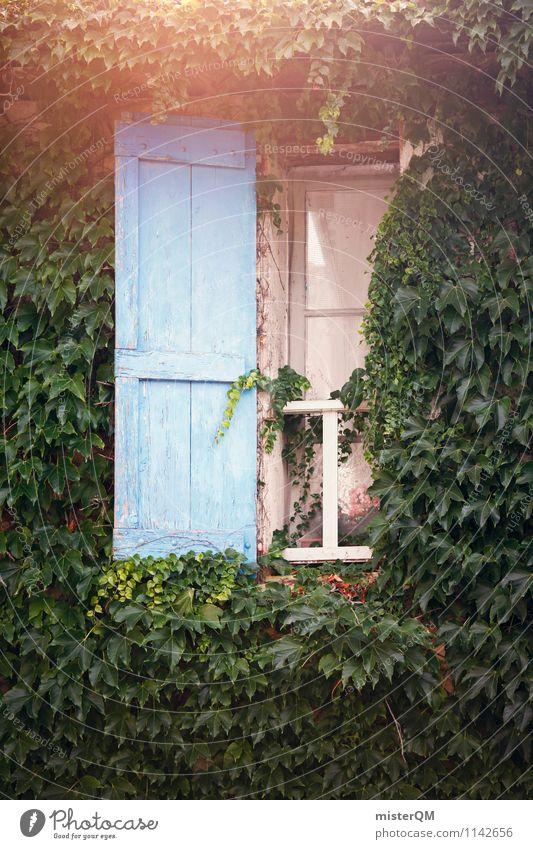 French Windows III Kunst ästhetisch altmodisch bewachsen Fassade blau Fensterladen Fensterscheibe Fensterbrett Fensterblick Fensterkreuz Fensterrahmen