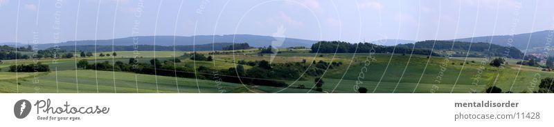 über den Feldern Himmel Gras Berge u. Gebirge groß Hügel Panorama (Bildformat) Landleben