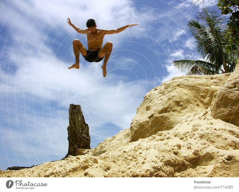 i tried myself Himmel Jugendliche Ferien & Urlaub & Reisen Baum Sommer Meer Strand Freude Wolken Wärme Freiheit Glück Sand Luft Wasserfahrzeug Rücken