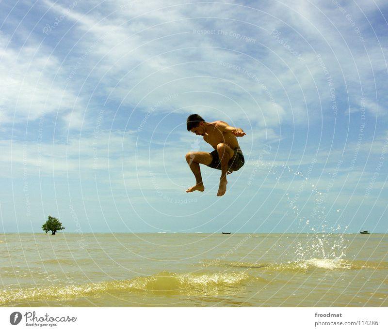out the water in the air Brasilien Strand Meer Palme Ferien & Urlaub & Reisen Lebensfreude Salto gefroren Wasserfahrzeug lässig Luft Ausgelassenheit akrobatisch