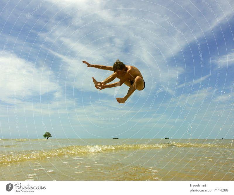 no flying fish Himmel Jugendliche Wasser Ferien & Urlaub & Reisen Baum Sommer Meer Strand Freude Wolken Wärme Freiheit Glück Sand Luft Wasserfahrzeug