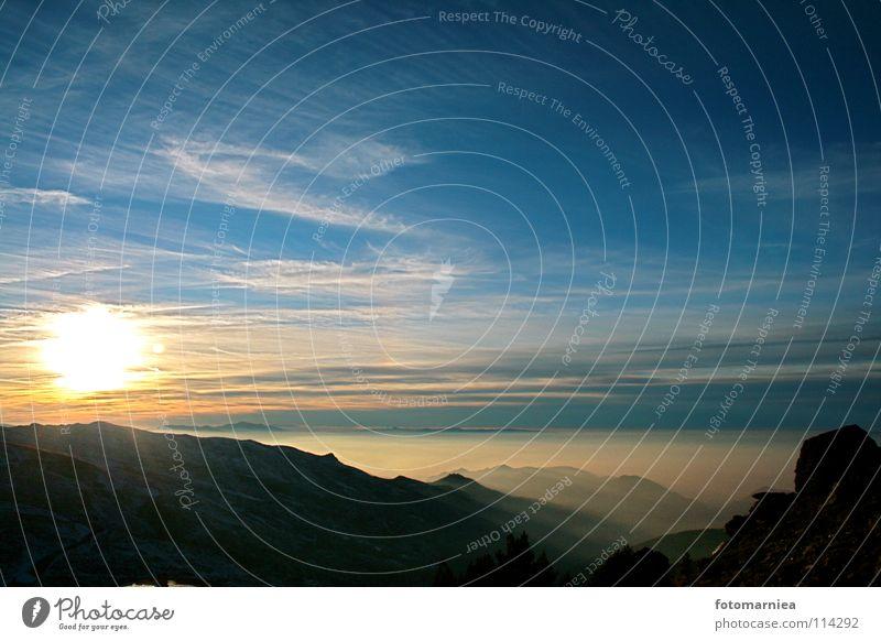 sierra nevada. Himmel Sonne Winter Berge u. Gebirge Nebel Dezember Sierra Nevada