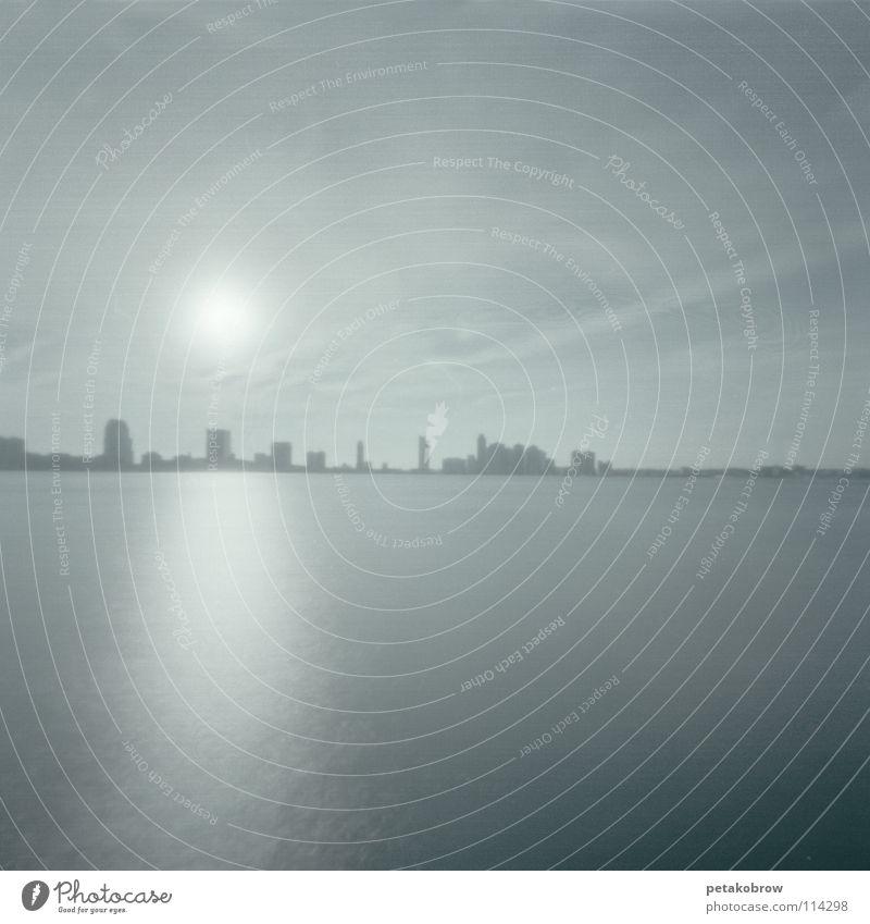 LochbildNy02 Himmel Sonne Horizont Skyline New York City Smog New Jersey
