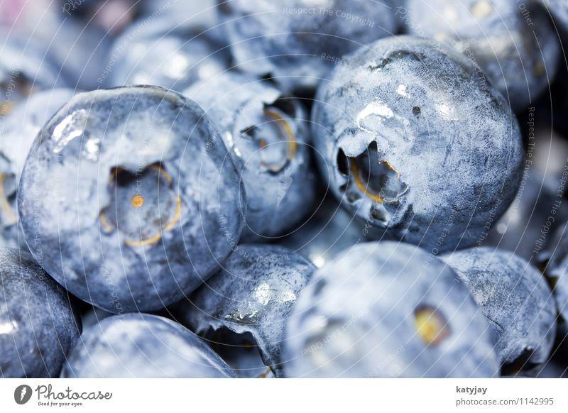Blaubeeren Beeren Frucht waldbeeren Vitamin nah Nahaufnahme Makroaufnahme Ernährung Bioprodukte Biologische Landwirtschaft Dessert frisch Wassertropfen Tropfen