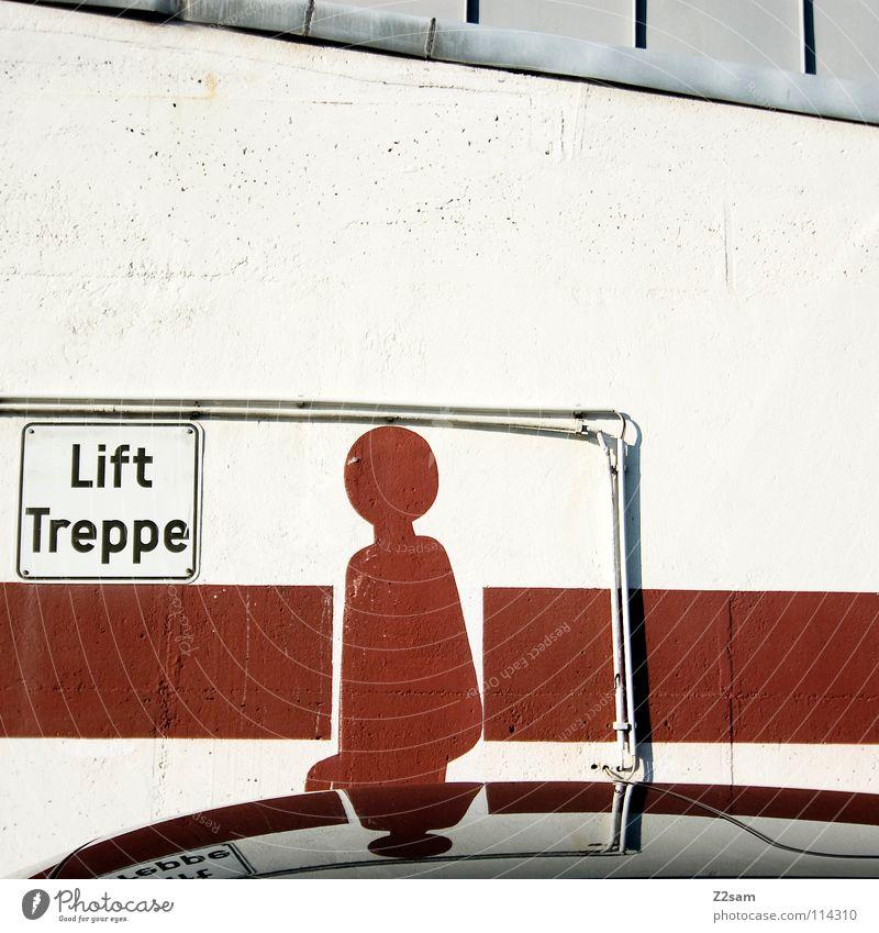 LIFT TREPPE?! rot schwarz Wand PKW Linie Arme gehen Schilder & Markierungen Treppe stehen Grafik u. Illustration Gemälde Quadrat Eisenrohr parken Fahrstuhl