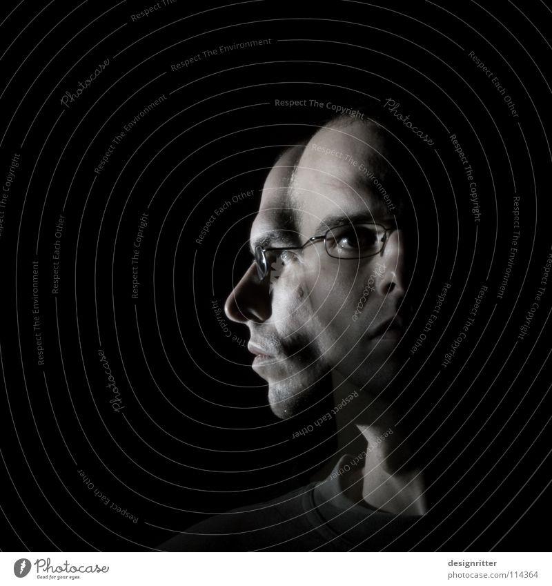 Rückblick Mann Porträt Silhouette links rechts Wechseln Blick Wandel & Veränderung Meinung Licht dunkel Selbstportrait Langzeitbelichtung Kopf Gesicht Profil