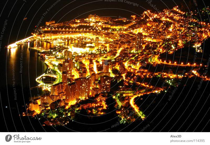 Monaco bei Nacht schwarz Europa Licht Hafen Mittelmeer gold Spielkasino Leben