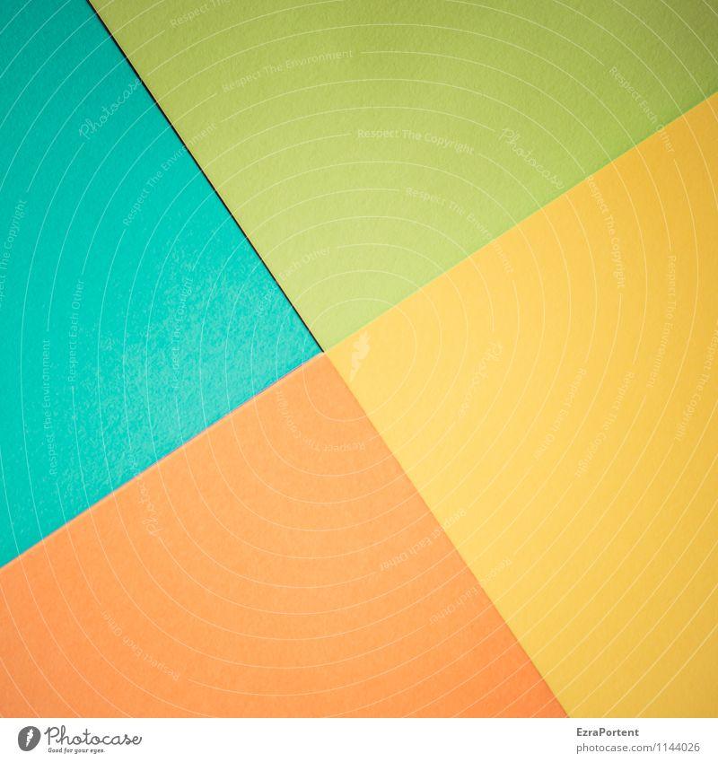 t\g/g\o Design Basteln Linie ästhetisch hell blau gelb grün orange türkis Farbe Grafik u. Illustration ungenau fehlerhaft Geometrie diagonal Trennlinie