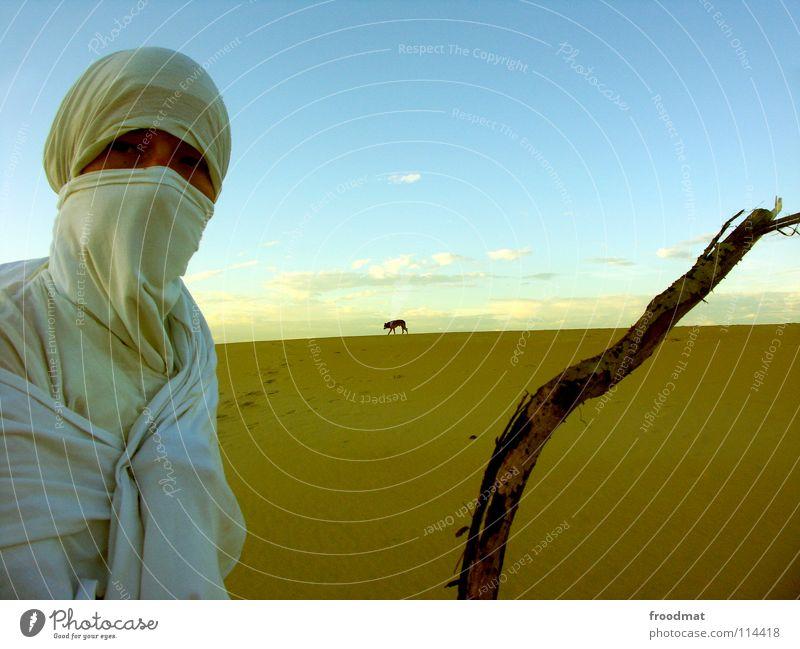 Wüstenszenerie Himmel Baum Sommer Strand Ferien & Urlaub & Reisen Tier Wärme Sand wandern Horizont Erde Nomaden Abenteuer Tourismus Maske