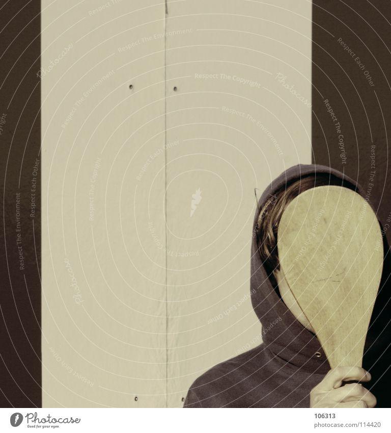 IDENTITÄTSVERLUST IM JETZT Mensch Mann alt Gesicht Wand Traurigkeit Spielen Holz Kopf Linie Hintergrundbild braun Angst maskulin Raum Schilder & Markierungen