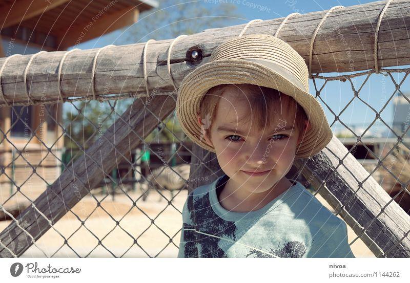 Safari Kind Junge Kindheit Gesicht 1 Mensch 3-8 Jahre Pflanze Tier Wolkenloser Himmel Schönes Wetter Wüste T-Shirt Hut Mütze Wildtier Zoo Sand beobachten