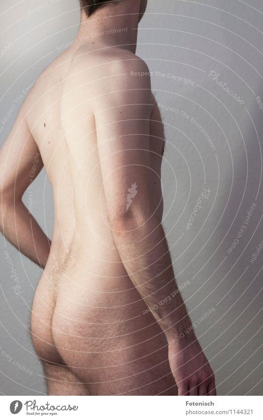 volle Backen Mensch Jugendliche nackt schön Erotik Junger Mann 18-30 Jahre Erwachsene natürlich maskulin Behaarung stehen ästhetisch Rücken dünn Gesäß