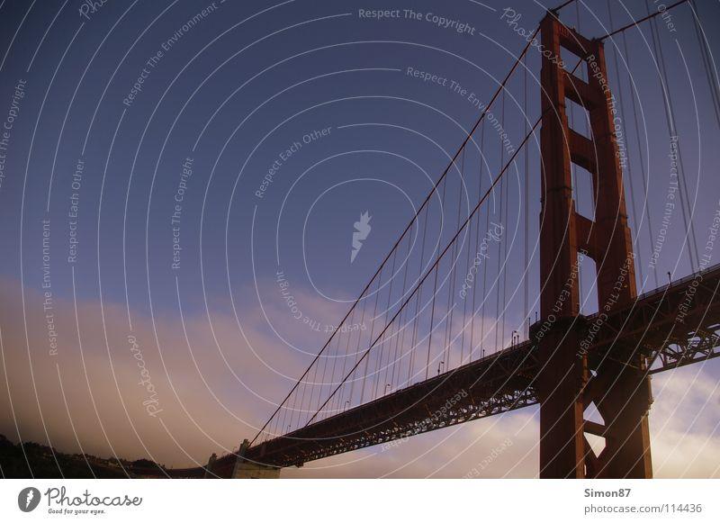 Golden Gate Bridge San Francisco Meer Denkmal rot Brücke bridge Abend Bucht Himmel Architektur