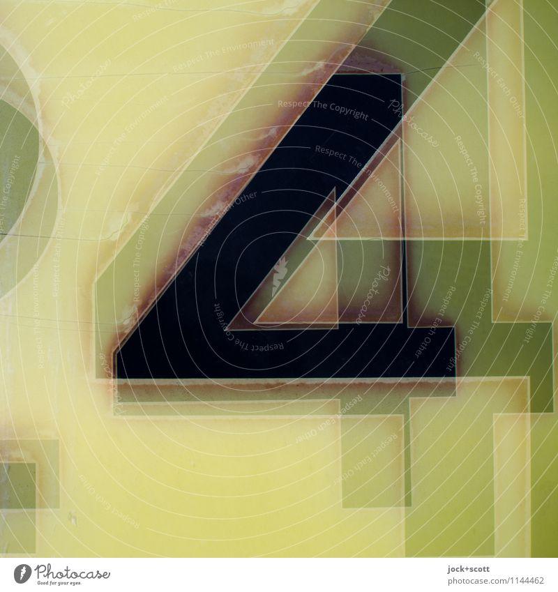 444 Design Grafik u. Illustration Typographie Kunststoff Streifen Ecke Coolness eckig kaputt nachhaltig retro Surrealismus grün-gelb Reaktionen u. Effekte