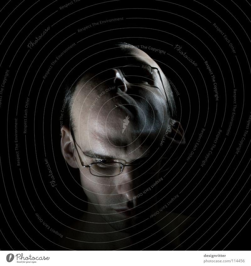 Kopf hoch! Mann Gesicht dunkel Stil oben Kopf Traurigkeit hell Trauer Wandel & Veränderung unten Mut Meinung Selbstportrait Wechseln