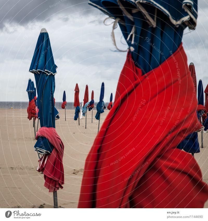 ausgefranst Ferien & Urlaub & Reisen Tourismus Sommer Sommerurlaub Strand Meer Sand Himmel Gewitterwolken Horizont Frühling Herbst Klima Wetter