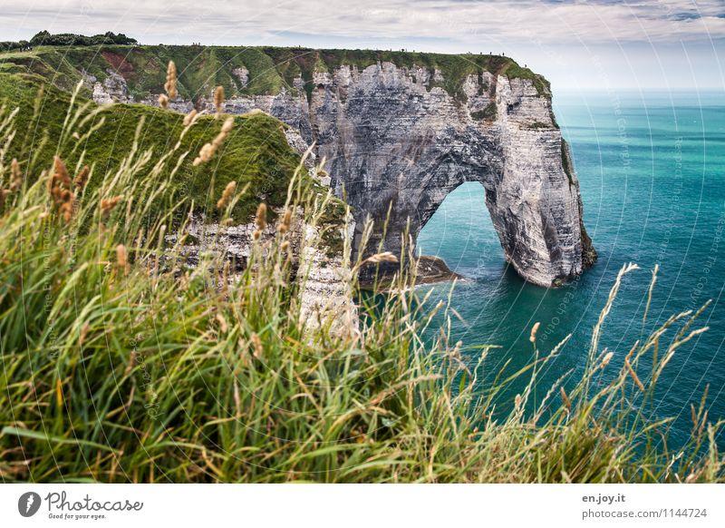 brüchig Ferien & Urlaub & Reisen Tourismus Abenteuer Sommer Sommerurlaub Meer Natur Landschaft Himmel Horizont Klima Gras Wiese Felsen Küste hoch blau grün