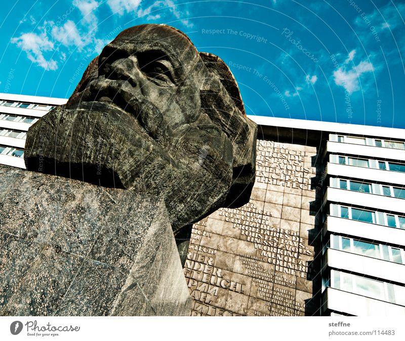 KARL MOIK Chemnitz Kopf Statue Denkmal Wahrzeichen Kunst Kommunismus Marktwirtschaft Philosophie schwarz grau links Sozialismus Kapitalismus Arbeiter