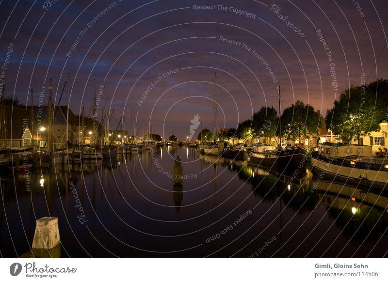 Yachthafen bei Nacht Wasser Wolken dunkel Küste Fluss Hafen Schifffahrt Niederlande