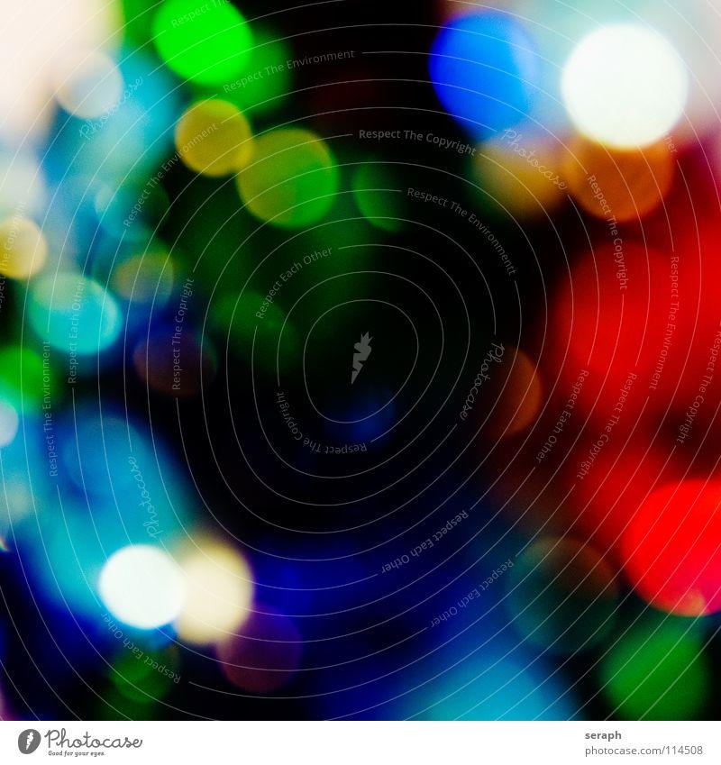 Spots Farbe mehrfarbig Kreis Schwache Tiefenschärfe Unschärfe Fleck gefleckt erleuchten Beleuchtung glänzend rund Punkt Lichtpunkt weich Strukturen & Formen