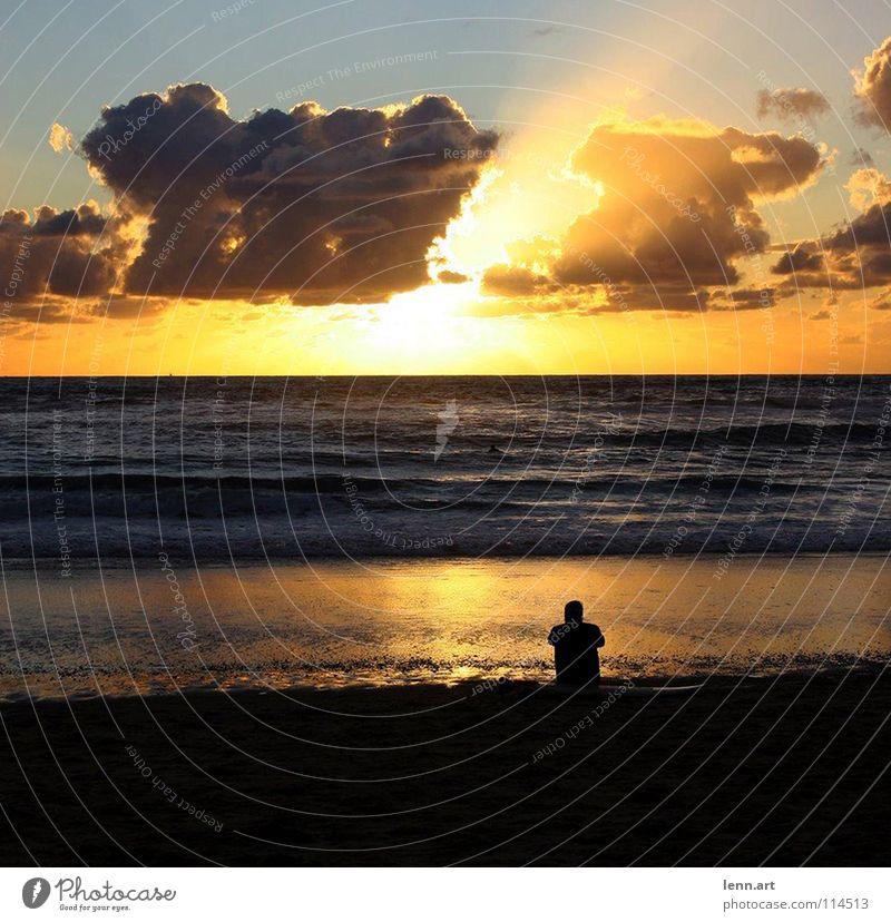 après surf Strand Wolken Meer Sonnenuntergang Frankreich Horizont Wellen Surfer Surfbrett Spielen Wasser Himmel Sand