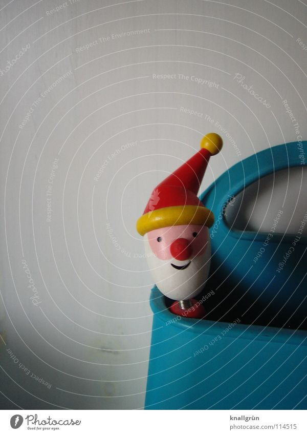 Holzkopf Weihnachten & Advent weiß blau rot gelb Mütze Weihnachtsmann obskur Schreibstift Kugelschreiber Nikolausmütze Rednose Rudolf